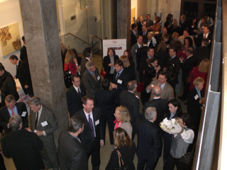 Attendees mingle during the Women in Business-to-Business reception at the Prince George Ballroom in New York City.