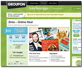 Zinio Discounts Entire Newsstand With Groupon - Folio: