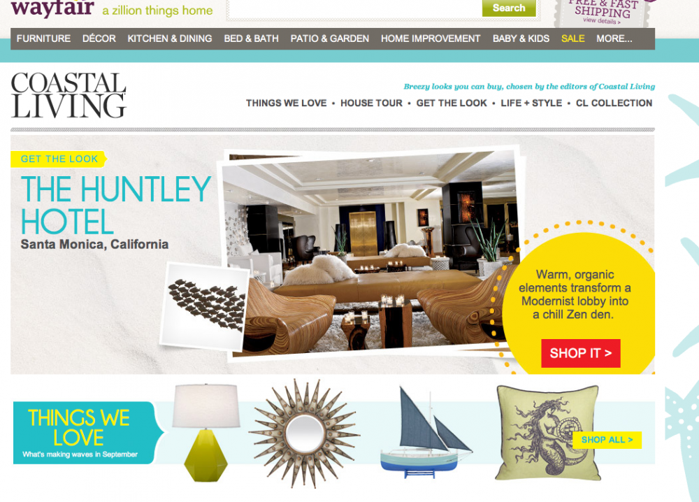 coastal living partners with e retailer wayfair folio