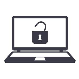 open padlock icon laptop monitor