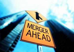 Merger ahead sign