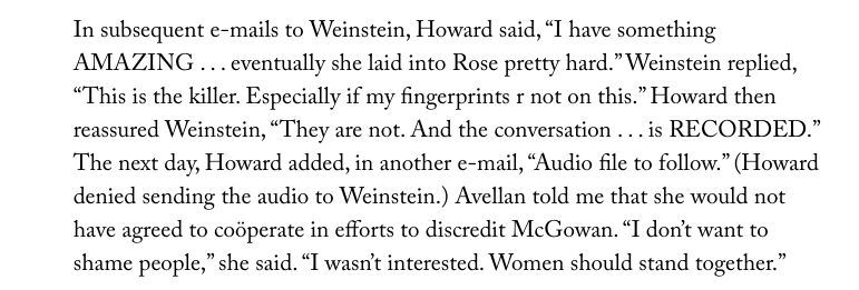 "An excerpt from Ronan Farrow's article, ""Harvey Weinstein's Army of Spies."""