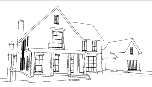 Sketch of the Whole Home Project house | Image Courtesy of House Beautiful Magazine.