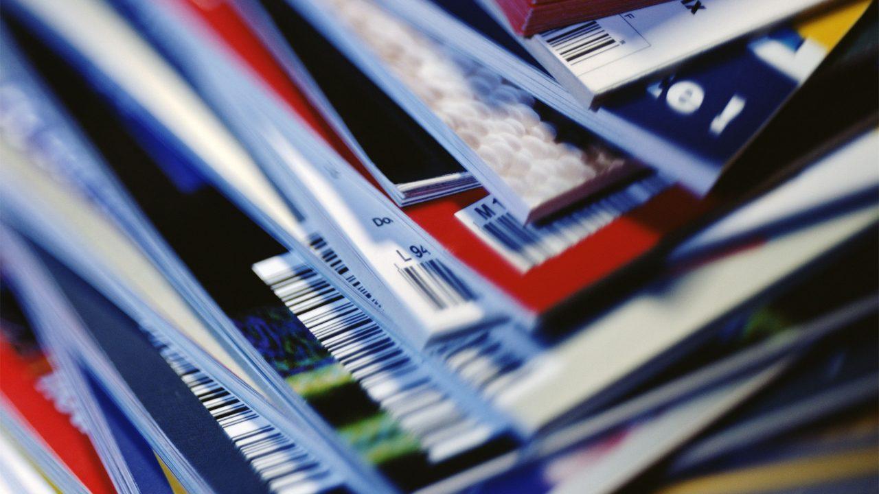 stack of print magazines
